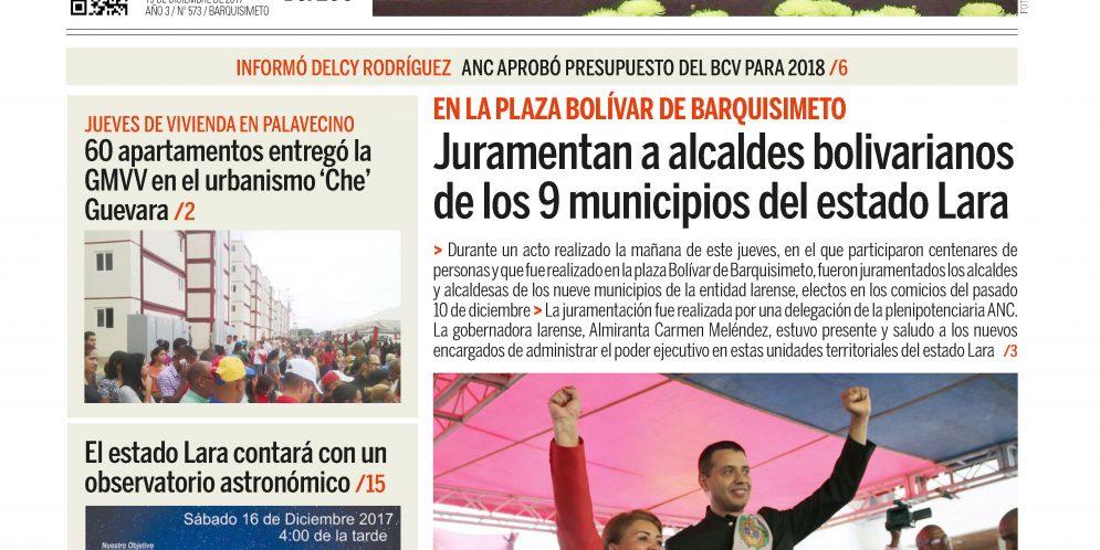 Vea la portada del periódico Ciudad BQTO de este viernes