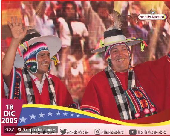 Presidente Maduro recuerda triunfo de su homólogo Evo Morales como el primer jefe de Estado indígena